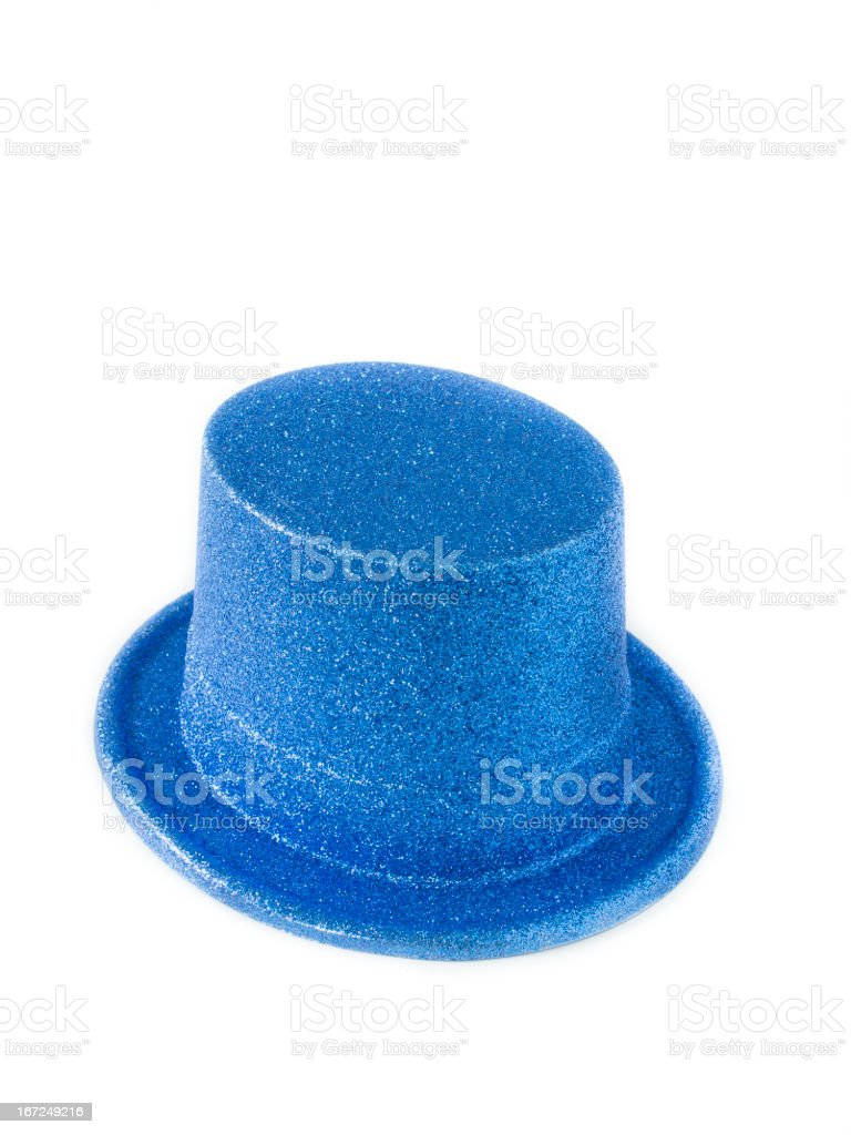 Blue metallic party hat on white background royalty-free stock photo