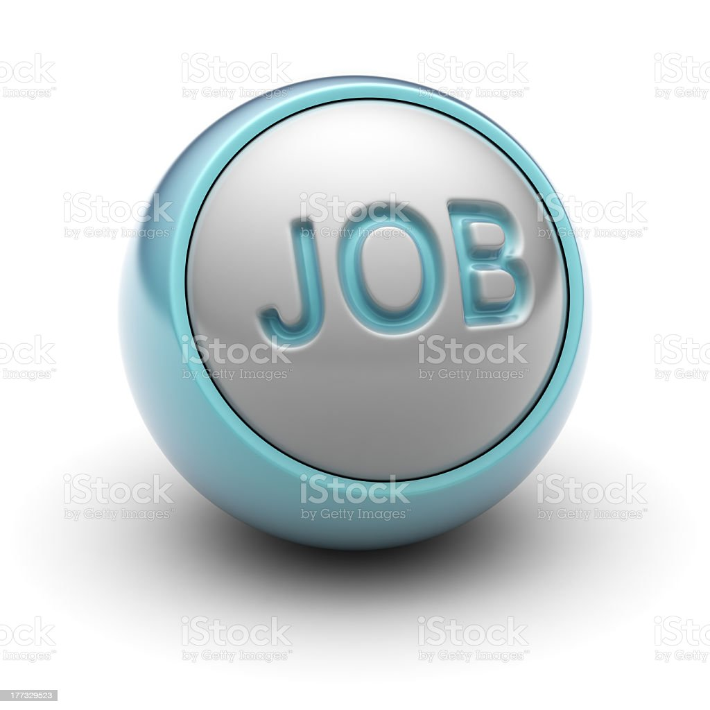 Blue metallic sphere with the word job printed royalty-free stock photo