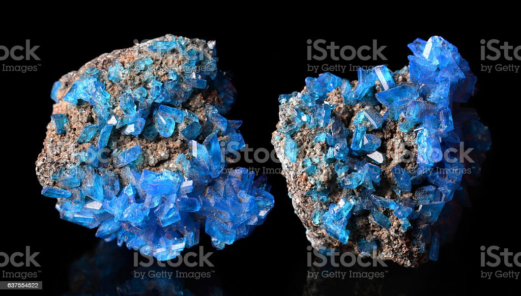 Blue mineral crystals Covellite stock photo