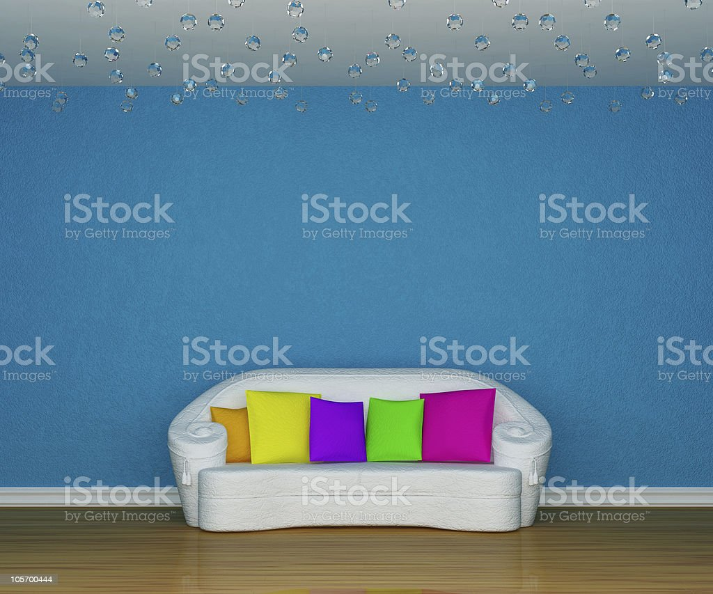 blue minimalist living room royalty-free stock photo