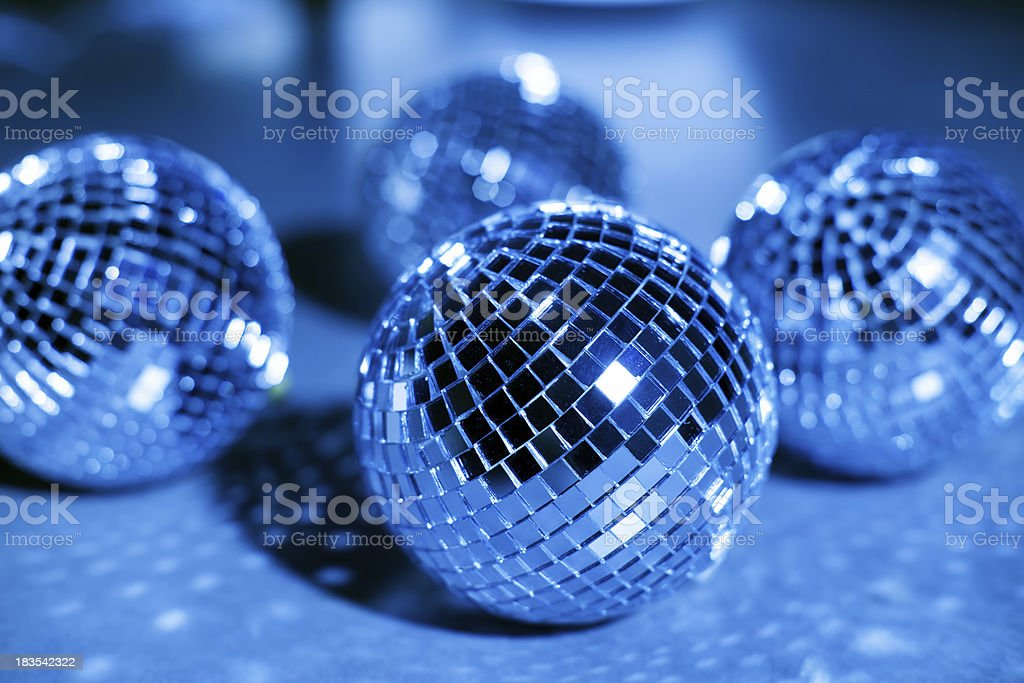 Blue mirror balls stock photo