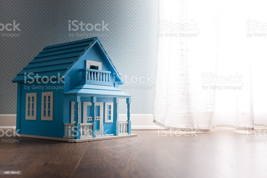 Blue model house stock photo