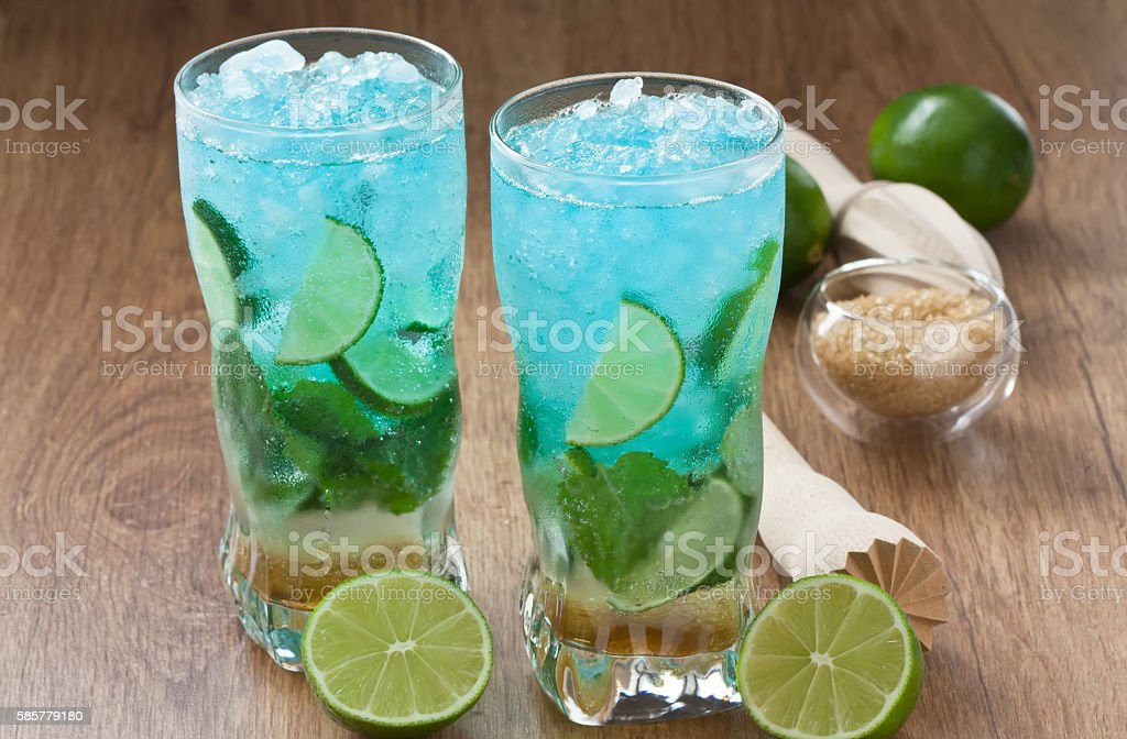 Blue mojito cocktail stock photo