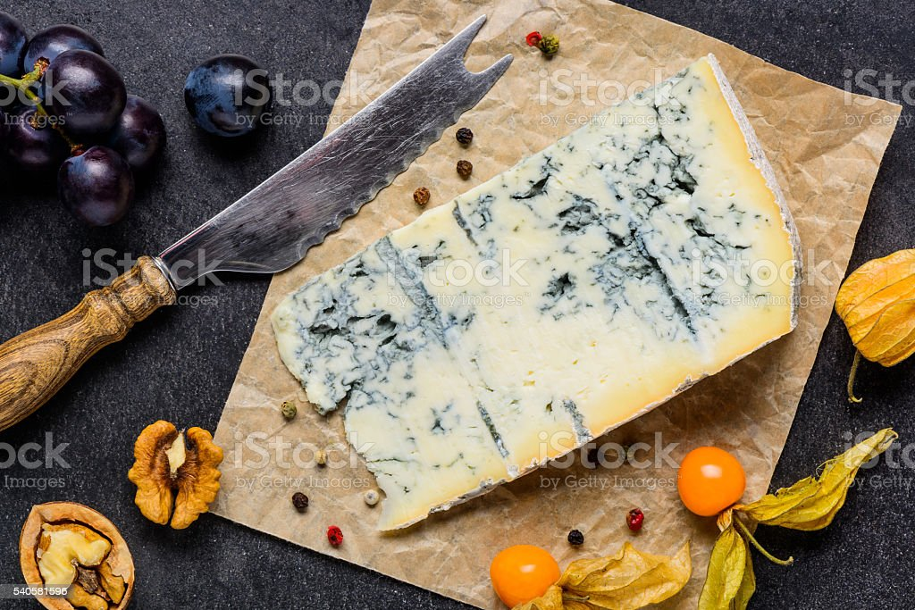 Blue Mold Gorgonzola Cheese with Fruits stock photo