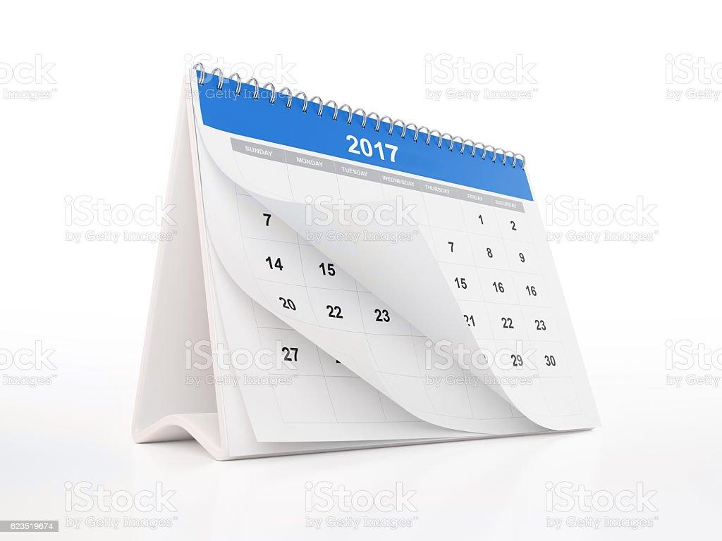 Blue Monthly Desktop Calendar: 2017 stock photo