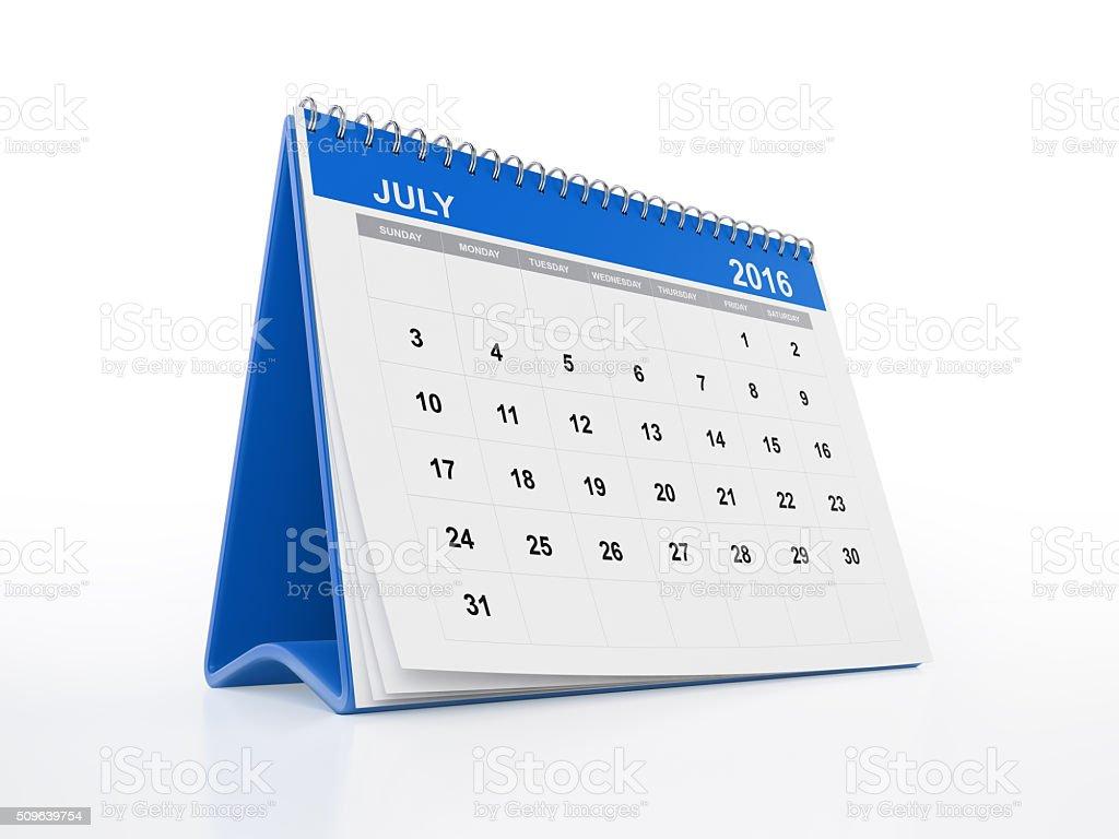 Blue Monthly Desktop Calendar: July stock photo