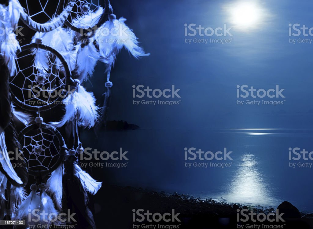 Blue moon - dreamcatcher with copy space royalty-free stock photo