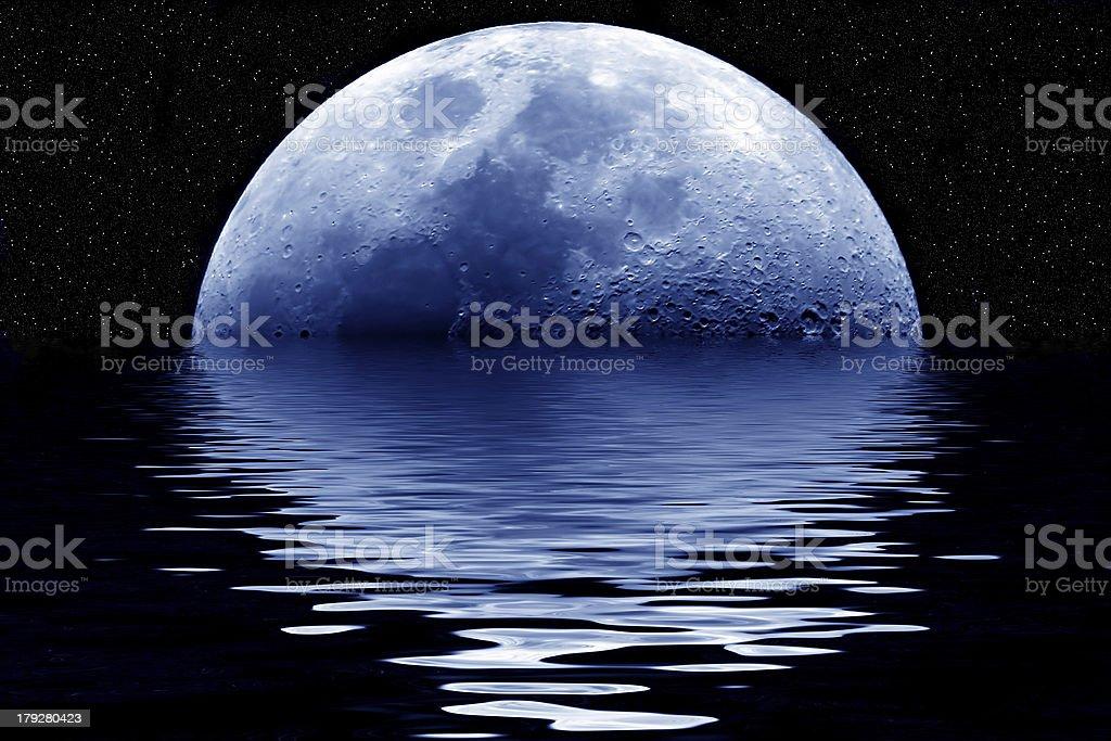 Blue moon rising royalty-free stock photo