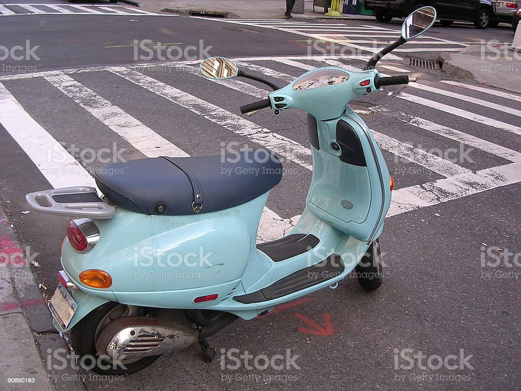 Blue Moped _3 royalty-free stock photo