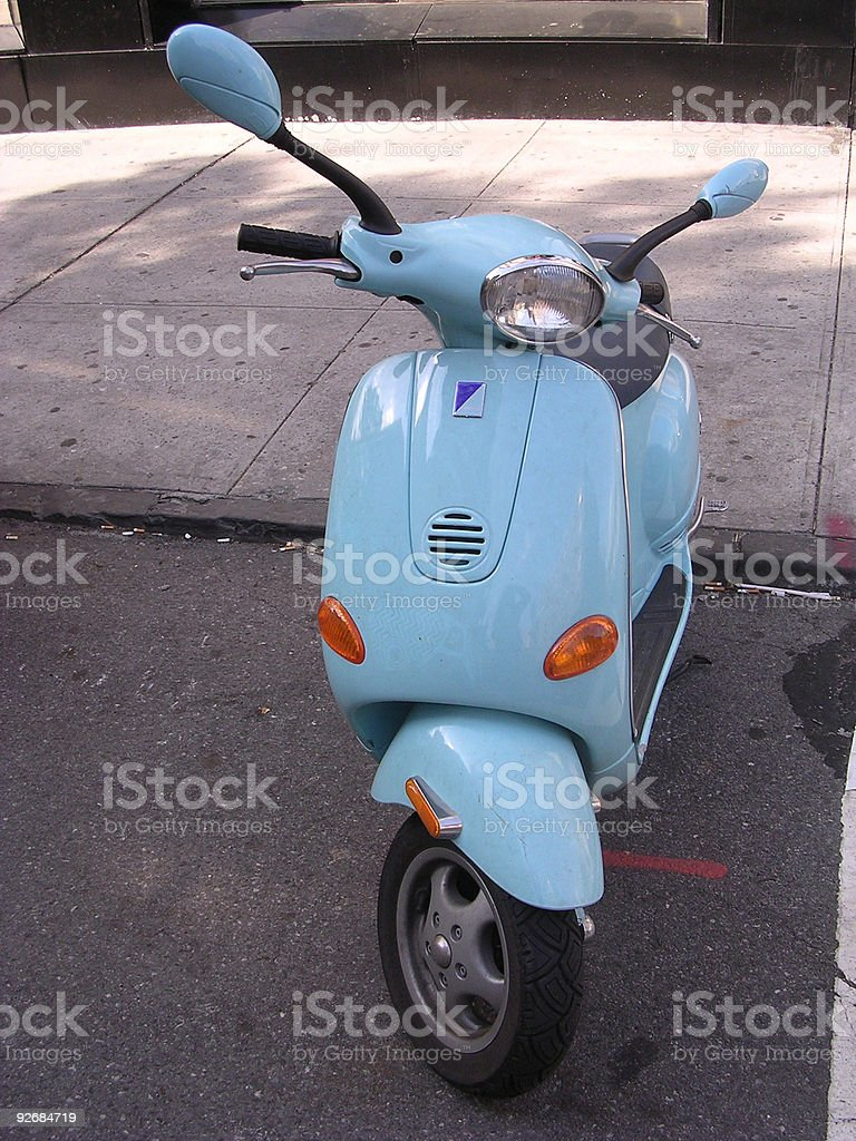 Blue Moped _4 royalty-free stock photo