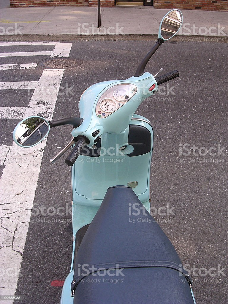 Blue Moped_1 royalty-free stock photo