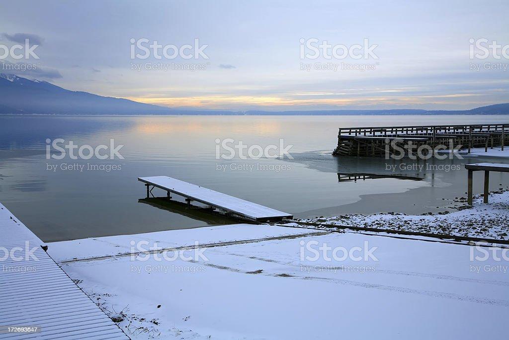 Blue Morning On Flathead Lake Boat Launch stock photo