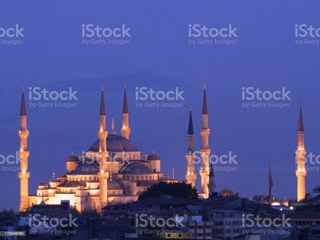 Blue Mosque and Bosphorous Straits royalty-free stock photo