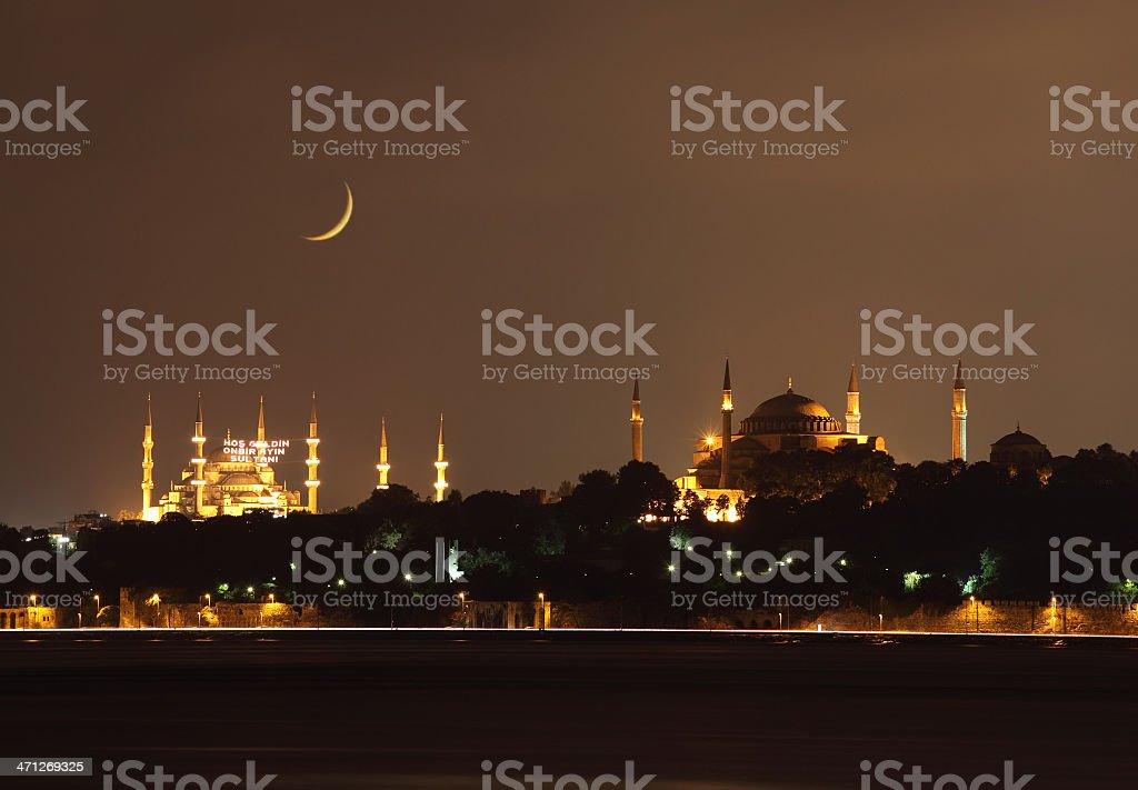 Blue mosque and Hagia Sofia in Ramadan stock photo
