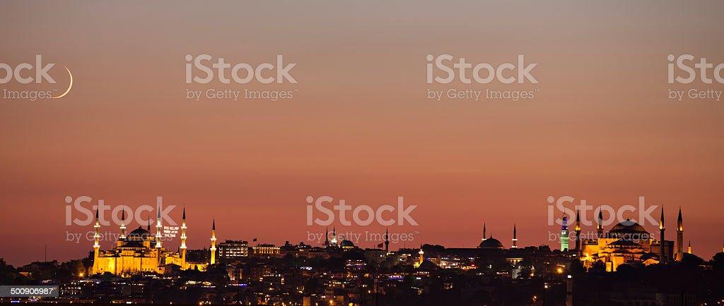 Blue mosque and Hagia Sofia in Ramadan. stock photo