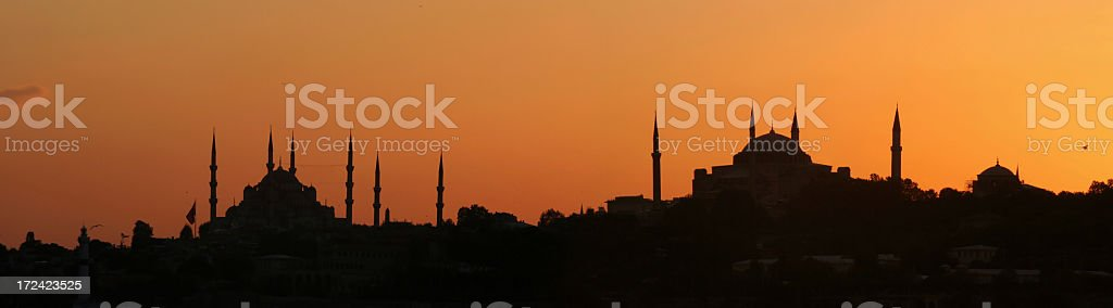 Blue mosque and  Hagia Sofia royalty-free stock photo