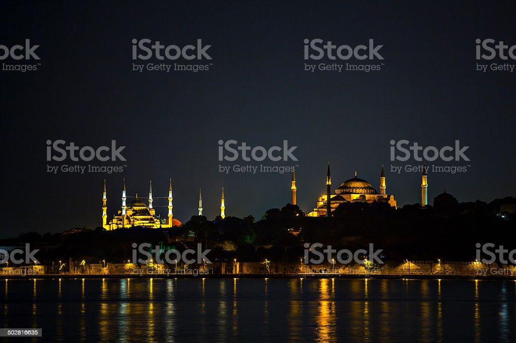Blue mosque and Hagia Sofia stock photo