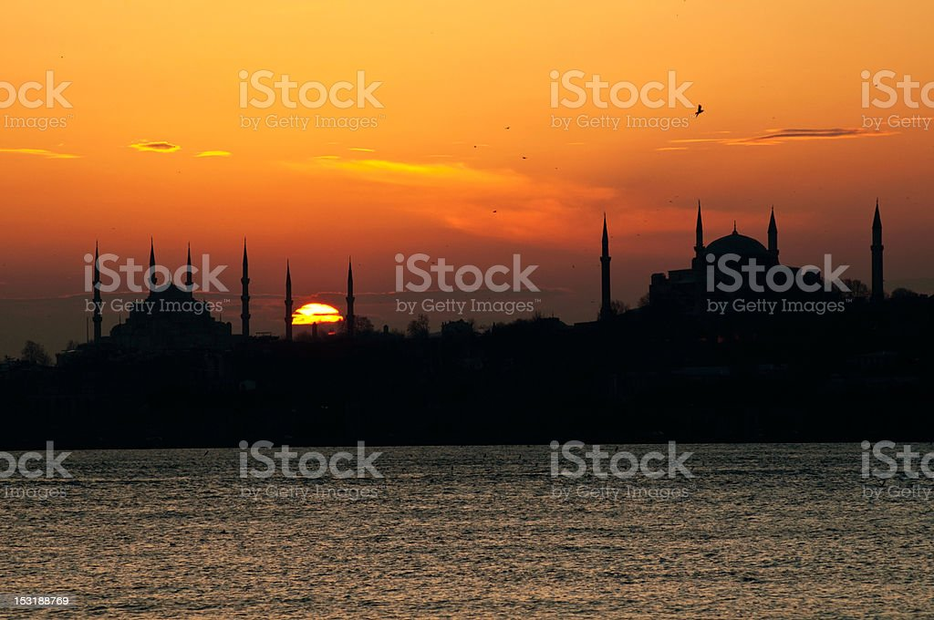 Blue Mosque and Hagia Sophia  in Istanbul stock photo