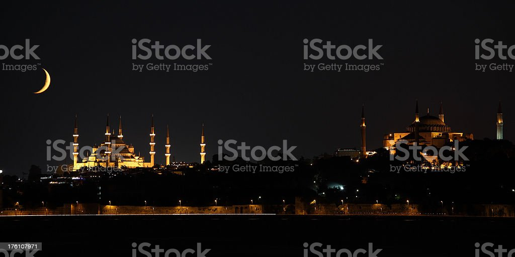 Blue mosque and Hagia Sophia royalty-free stock photo