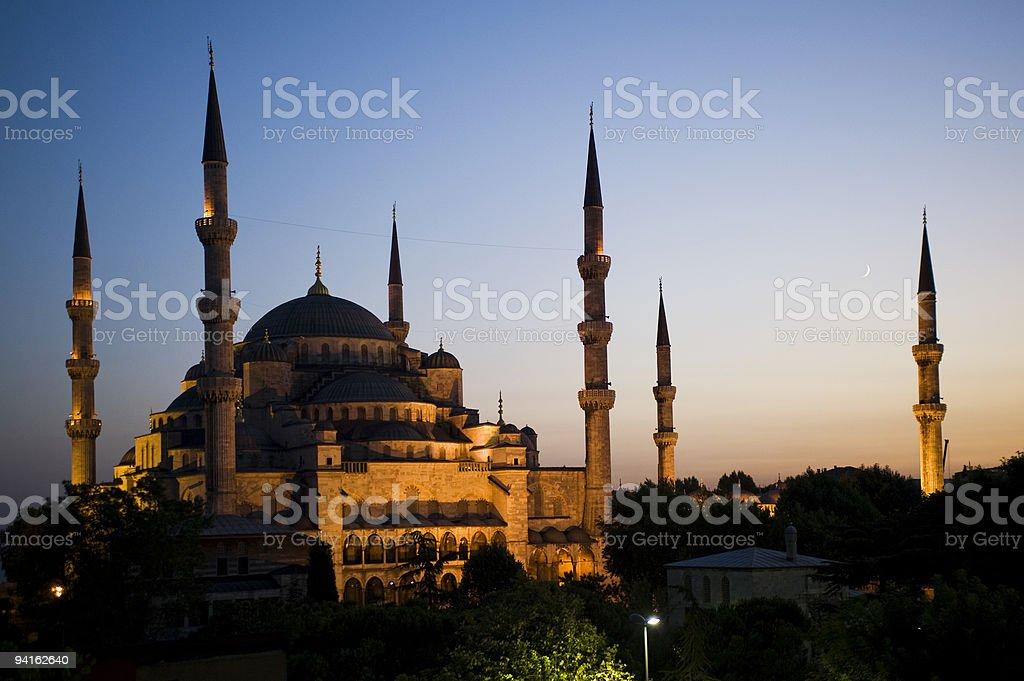 Mesquita Azul ao pôr-do-sol foto royalty-free