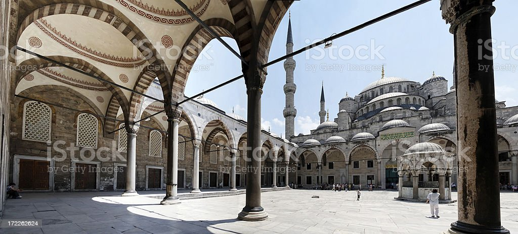 Blue mosque courtyard royalty-free stock photo