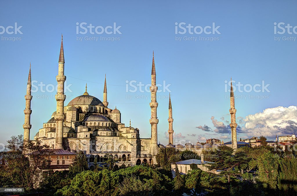 Blue Mosque in HDR under azure skies stock photo