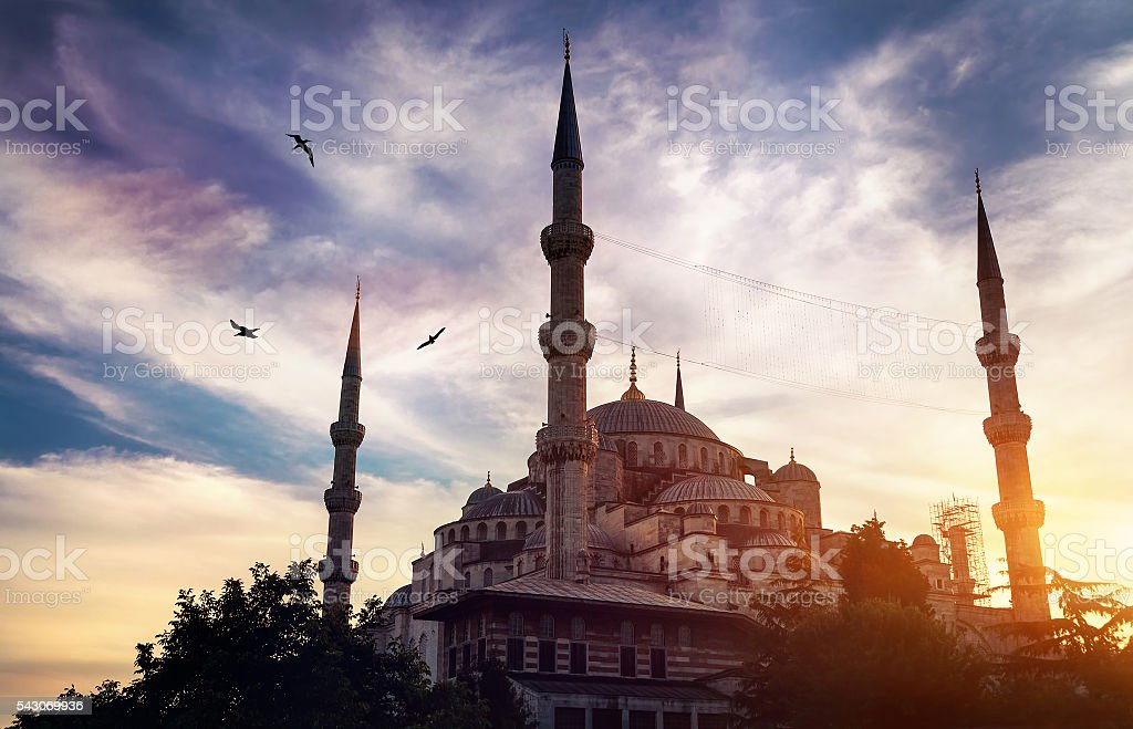 Blue mosque in Istanbul at sunset stock photo