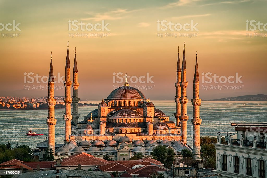 Blue mosque in Istanbul - sunset stock photo