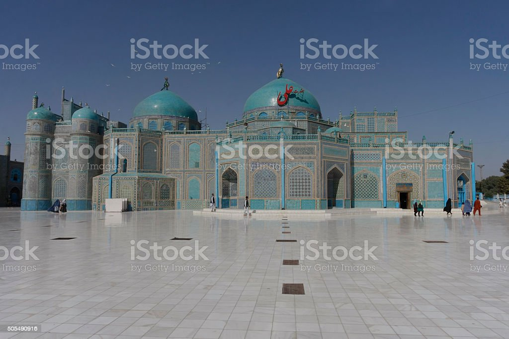 Blue Mosque in Mazar-i-Sharif stock photo