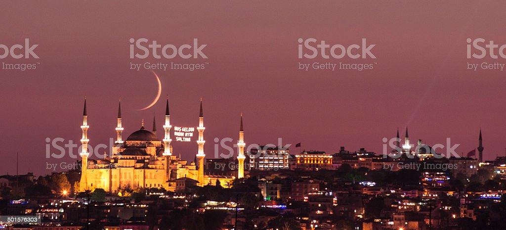 Blue mosque in Ramadan stock photo