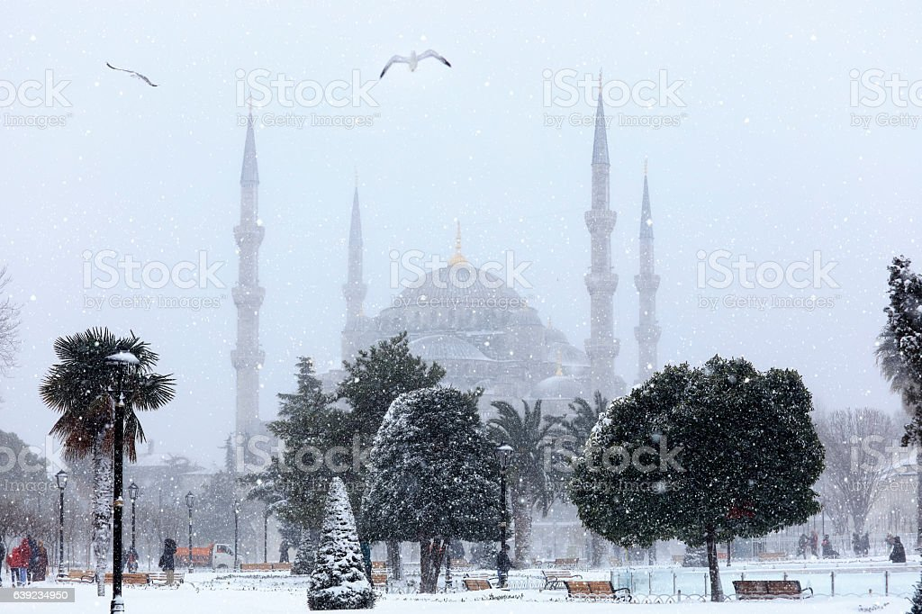 Blue Mosque in winter season at Istanbul,Turkey stock photo