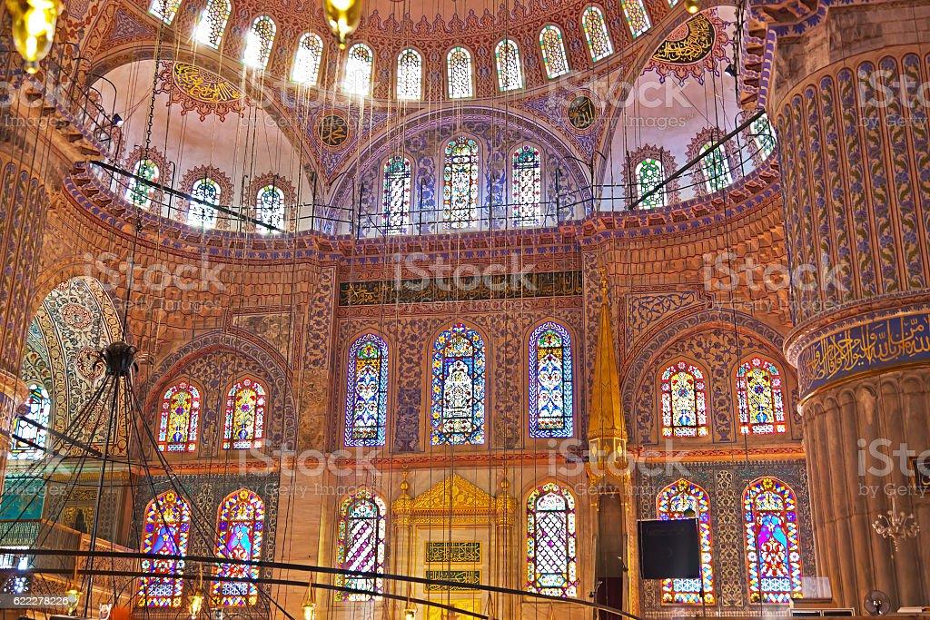 Blue mosque interior in Istanbul Turkey stock photo