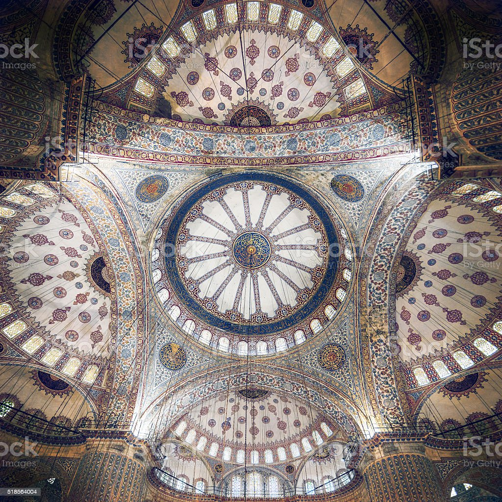 Blue Mosque intricate ceiling stock photo