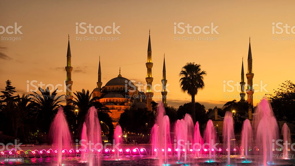 Blue Mosque or Sultan Ahmed Mosque in Istanbul Turkey stock photo