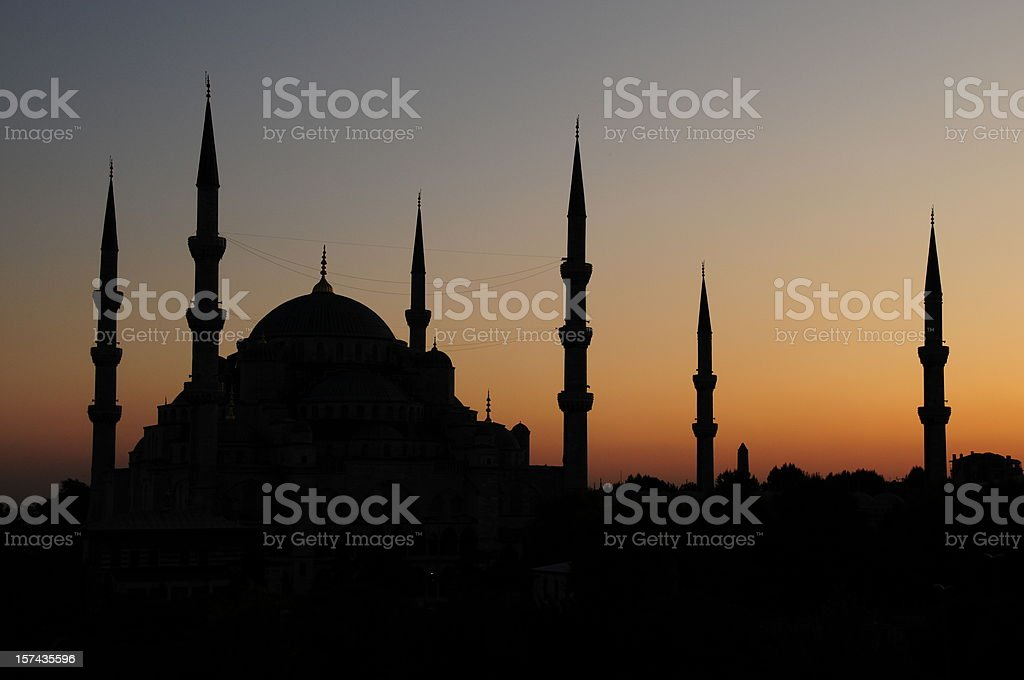 Blue Mosque silhouette royalty-free stock photo
