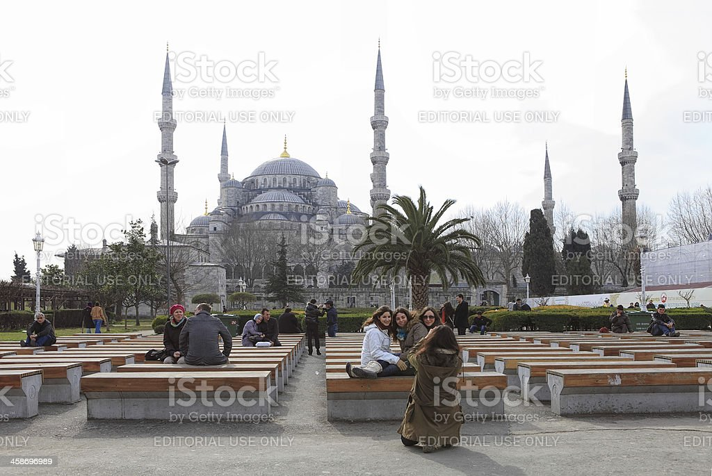 Blue Mosque; Time for Prayer royalty-free stock photo