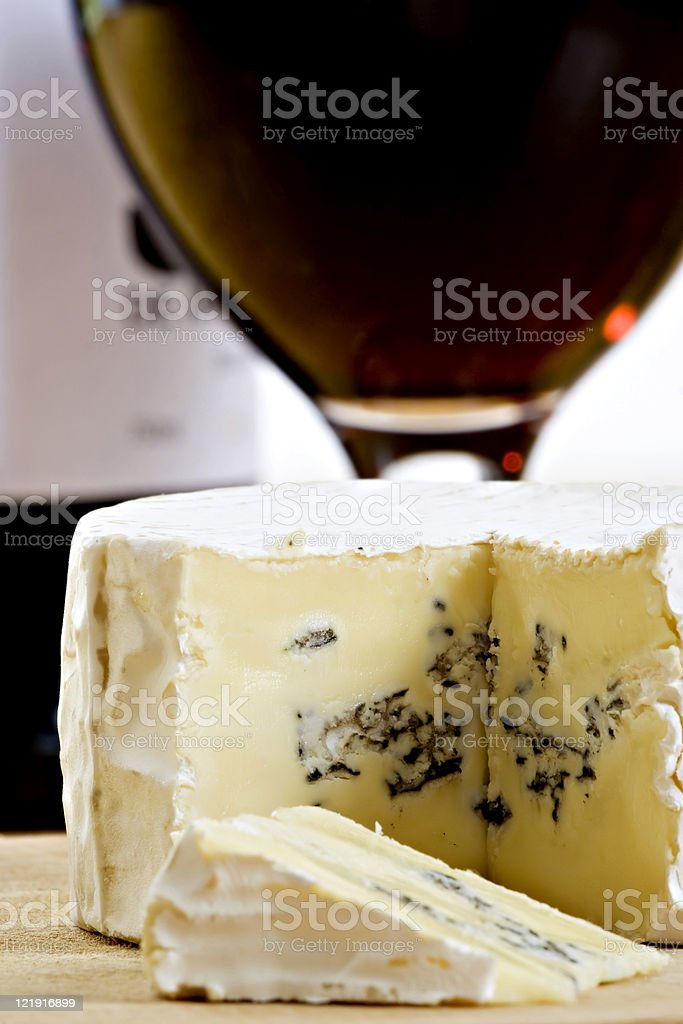 blue mould cheese and red wine stock photo
