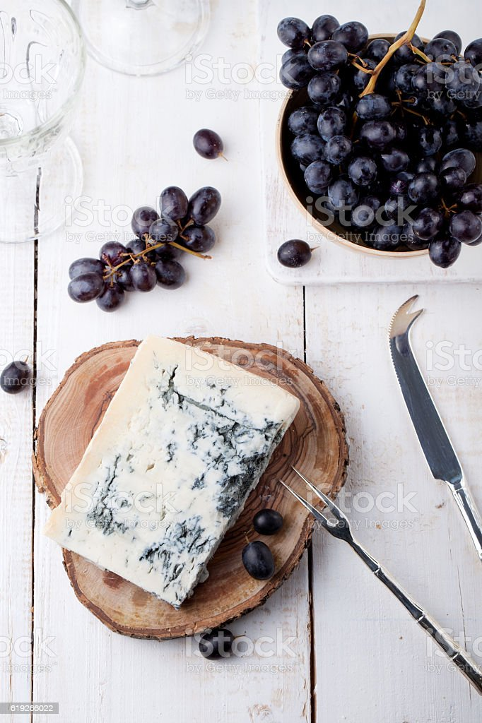Blue mould, mold cheese with fresh grape stock photo