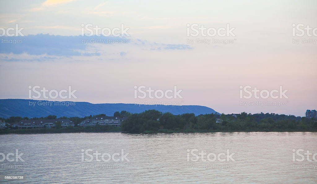 Blue Mountain at Sunset stock photo