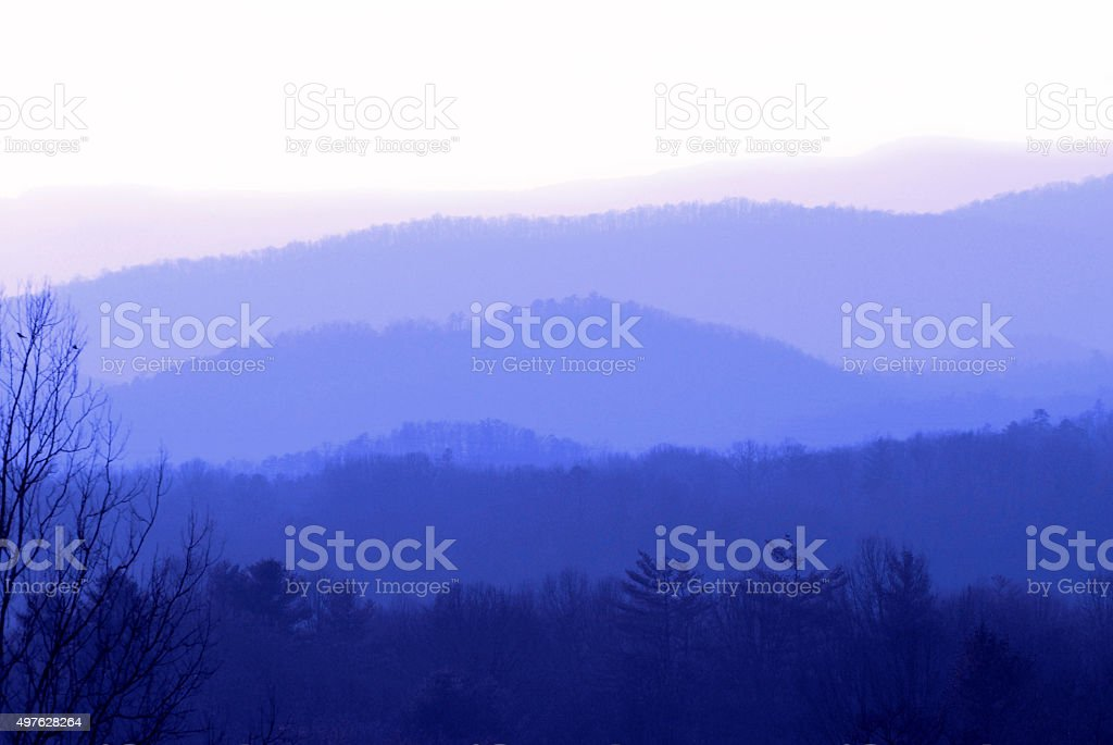 Blue Mountain Vista With Layers and Shades Of Blue stock photo