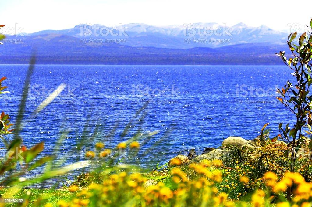 Blue Mountains And Lake. stock photo