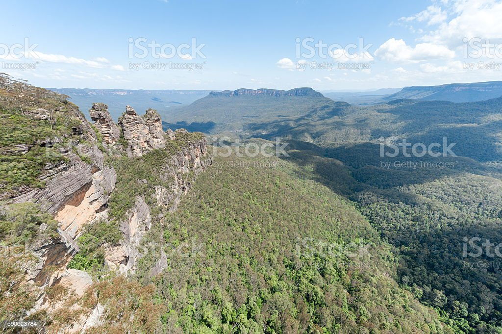 Blue Mountains in Sydney, Australia. Cloudy Blue Sky stock photo