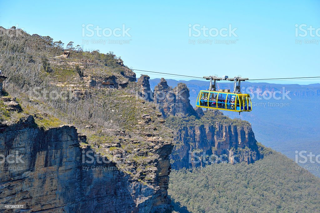 Blue Mountains landscape with 3 sisters and cable car stock photo