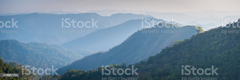 Blue mountains panorama, banner size photo stock photo
