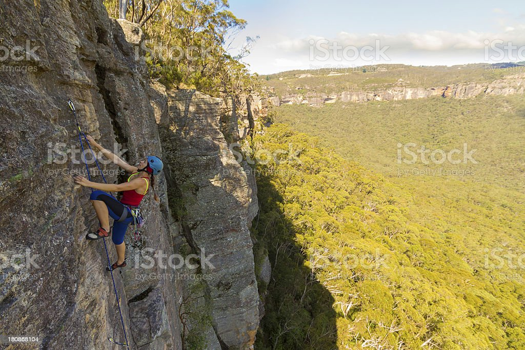 Blue Mountains with Woman Climber royalty-free stock photo