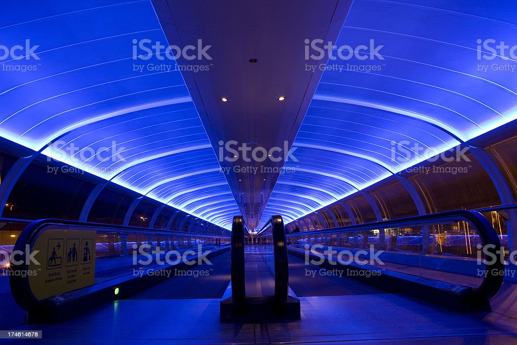 Blue Moving Walkway royalty-free stock photo