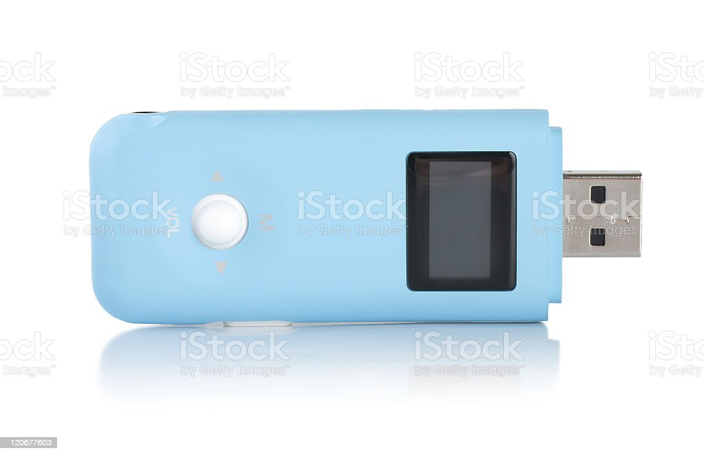 Blue MP3 player stock photo