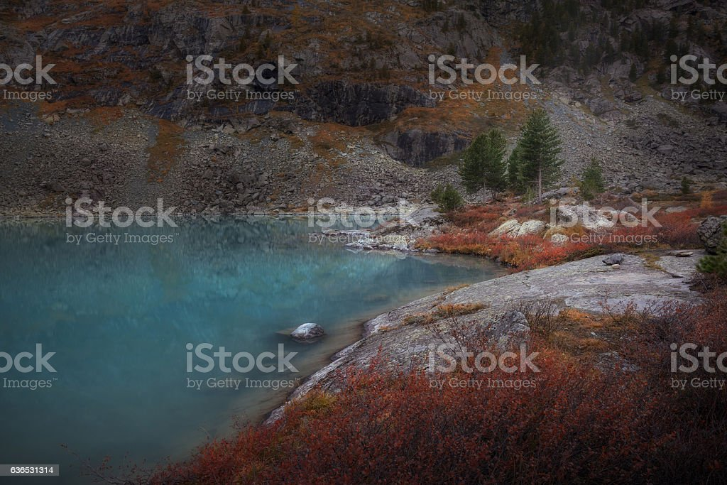 Blue Muddy Mountain Lake WIth Red Color Growth On The stock photo