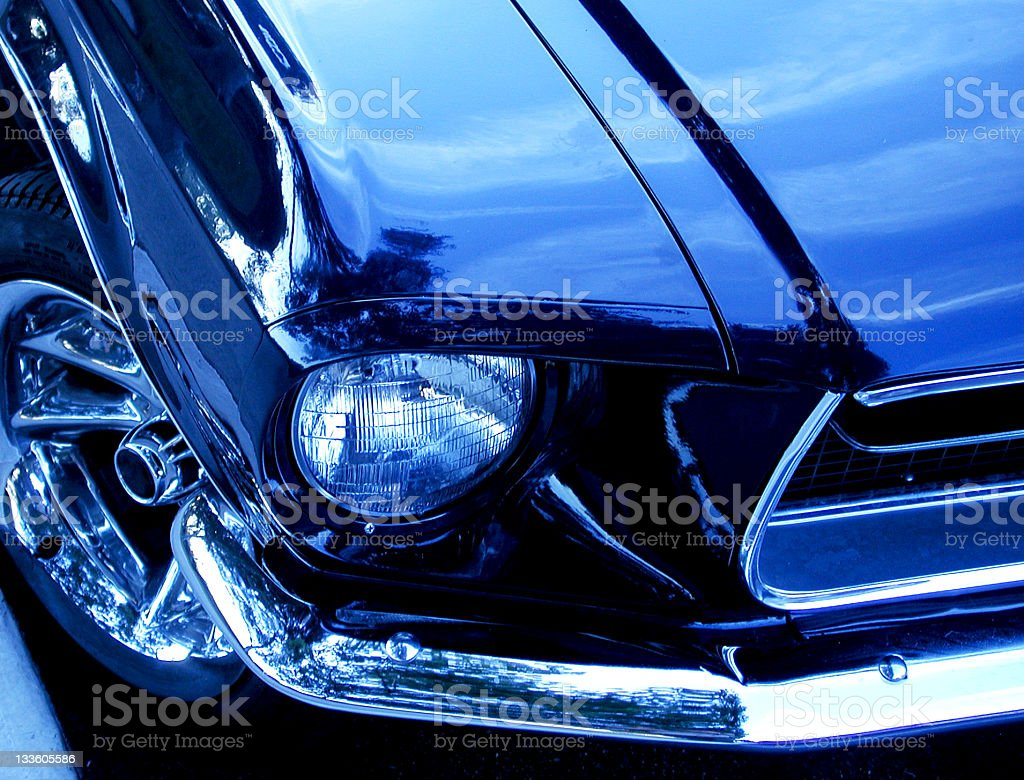 Blue Mustang Fender royalty-free stock photo