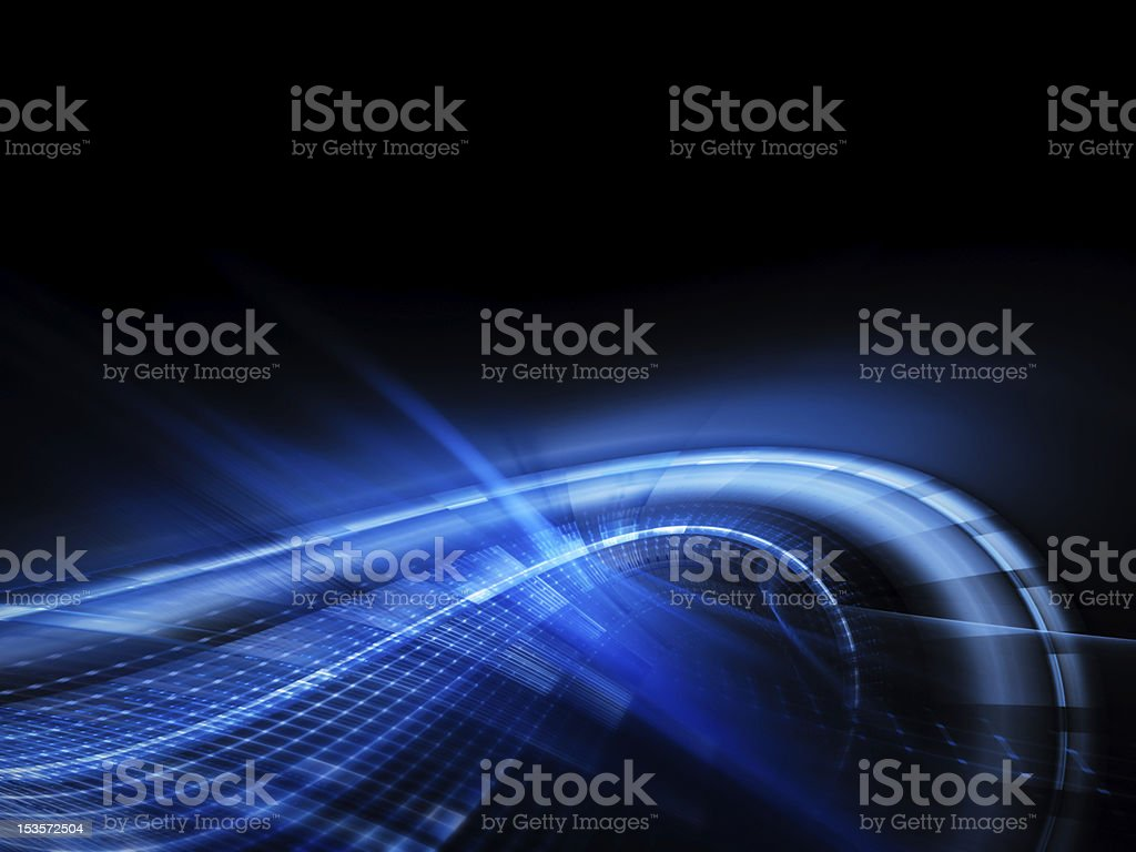 A blue neon curved line on an abstract background royalty-free stock photo
